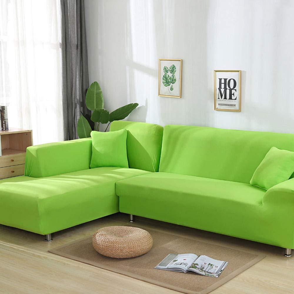 Hhjj Graue Farbe Sofa Abdeckung elastische schnittsofa hauptdekoration Komfortables Wohnzimmer innen-und außenmöbel@Hellgrün_1- und 4-Sitzer