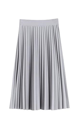 Mujeres plisado una línea Falda de Midi
