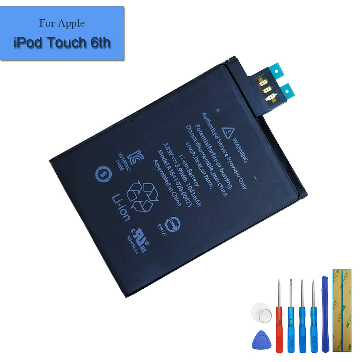 New Replacement Battery A1641 A1574 Compatible with Apple iPod Touch 6 6th Gen 1043mAh 3.83V + Tools by Melphyreal (Image #1)