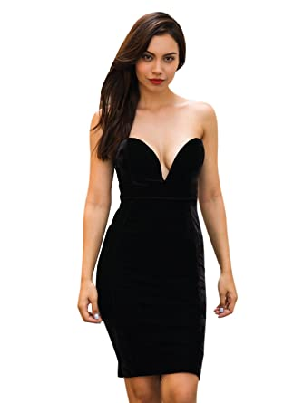 61b268e0faf3 Clothink Women Strapless V Neck Velvet Bodycon Cockatail Dress Black S
