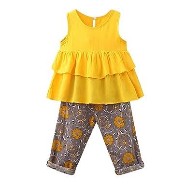 7d15214e62ad0 Robe de Filles, Toddler Kid BéBé Fille Tenues VêTements T-Shirt DéBardeur +  Pantalon