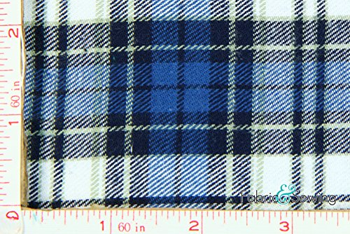 Blue, White, Light Yellow, Light Blue and Navy Plaid Flannel Fabric Cotton 7.5 Oz - Flannel Fabric Sewing