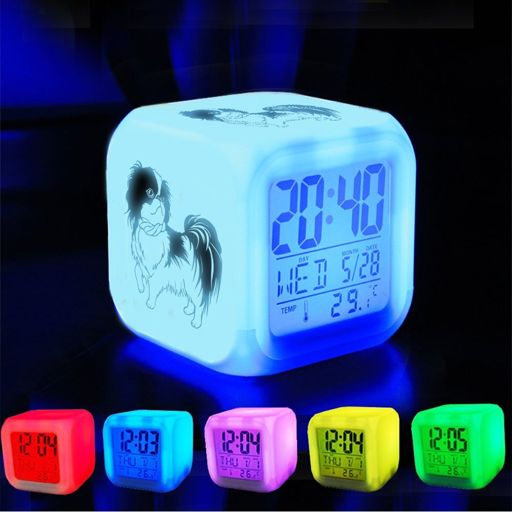 Japanese Chin Customize The pattern-389.Small Breed Dogs XLH Alarm Clock 7 LED Color Changing Wake Up Bedroom with Data and Temperature Display Cute Changable Color Dog Japan