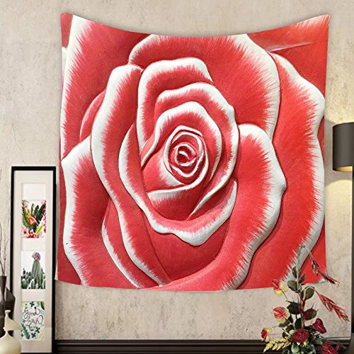 Keshia Dwete Custom tapestry low relief cement thai style handcraft of rose flower by Keshia Dwete