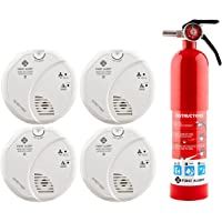 4-Pack First Alert Battery-Operated Carbon Monoxide Detector and Smoke Detector + Home Fire Extinguisher