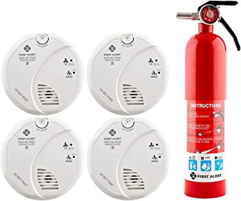 4-Pack First Alert Carbon Monoxide and Smoke Detector + Fire Extinguisher