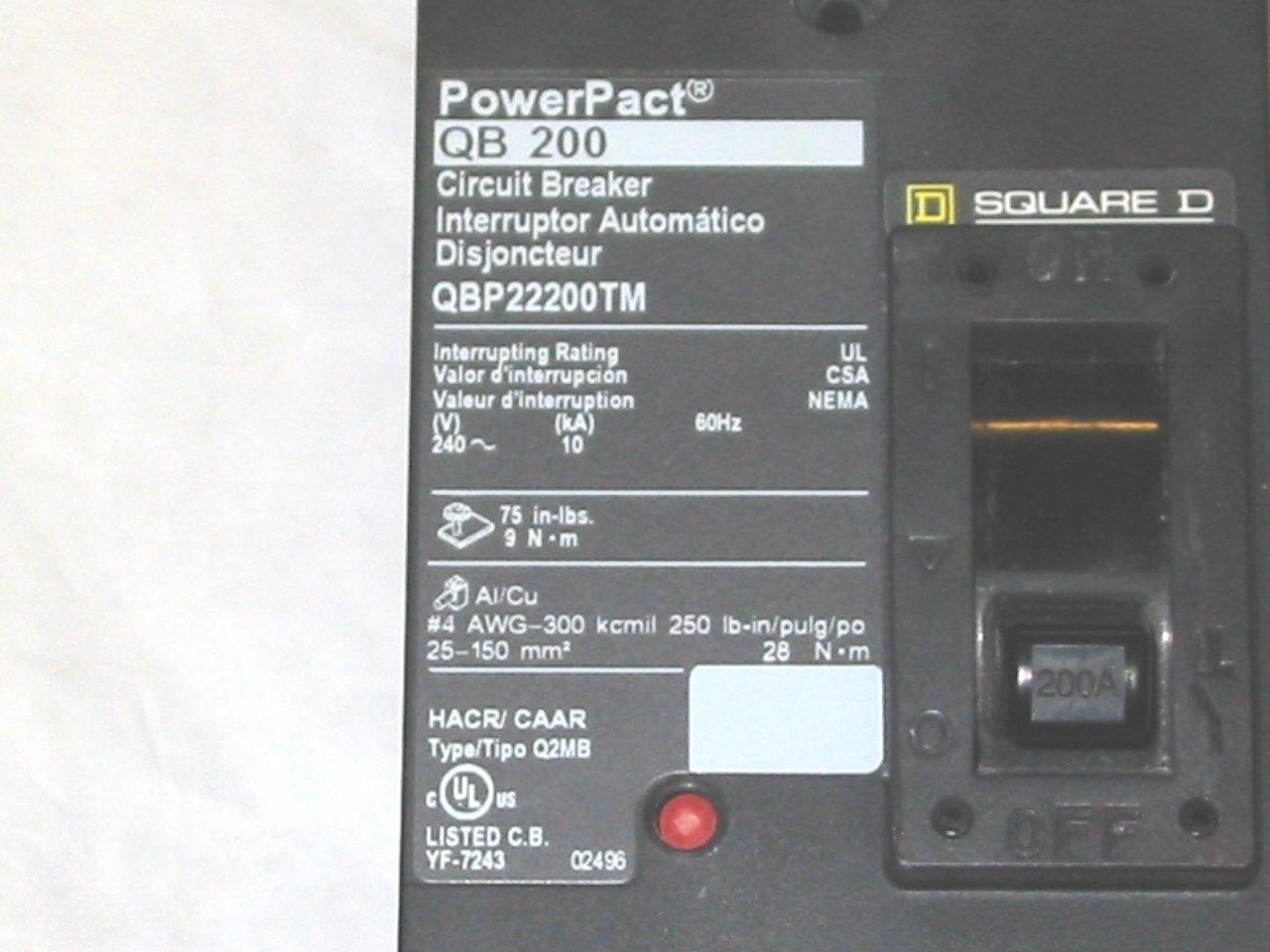 Schneider Electric Qbp22200tm Molded Case Circuit Breaker 240 Volt Types Video Different Of Breakers Ehow 200 Amp Pnlbd Enclosure Box T 3r 12 92h 26w Miniature