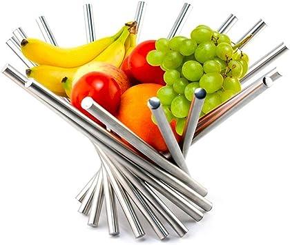 Obstkorb Edelstahl Drehung Obstschale Metall Küchenkorb Obst Teller Silber DE
