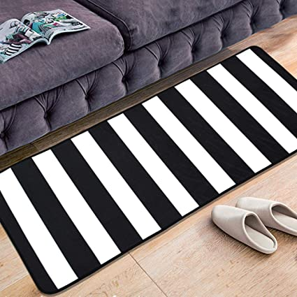 Ustide Modern Black And White Striped Rug 23 6 X70 Nonslip Kitchen Floor Runner Mat