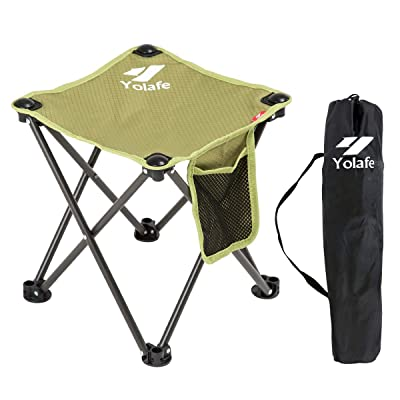 Small Folding Camping Stool Lightweight Chairs Portable Seat for Adults Fishing Hiking Gardening and Beach with Carry Bag, Green : Sports & Outdoors