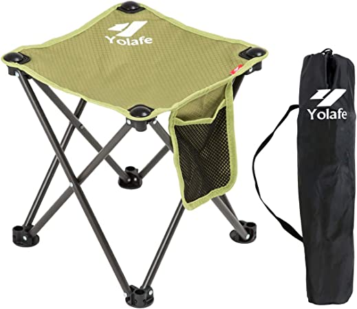 Folding Camping Stool Armless Portable Chair for Camping Fishing Hiking Gardening and Beach Seat with Black Bag