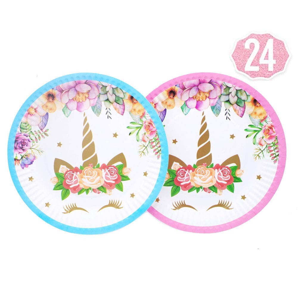 Magical Unicorn Plates Set 24-Pack,7 Inch for a Birthday Party,Unicorn Party,or Children's Party (Pink and Blue) by ACOOPS