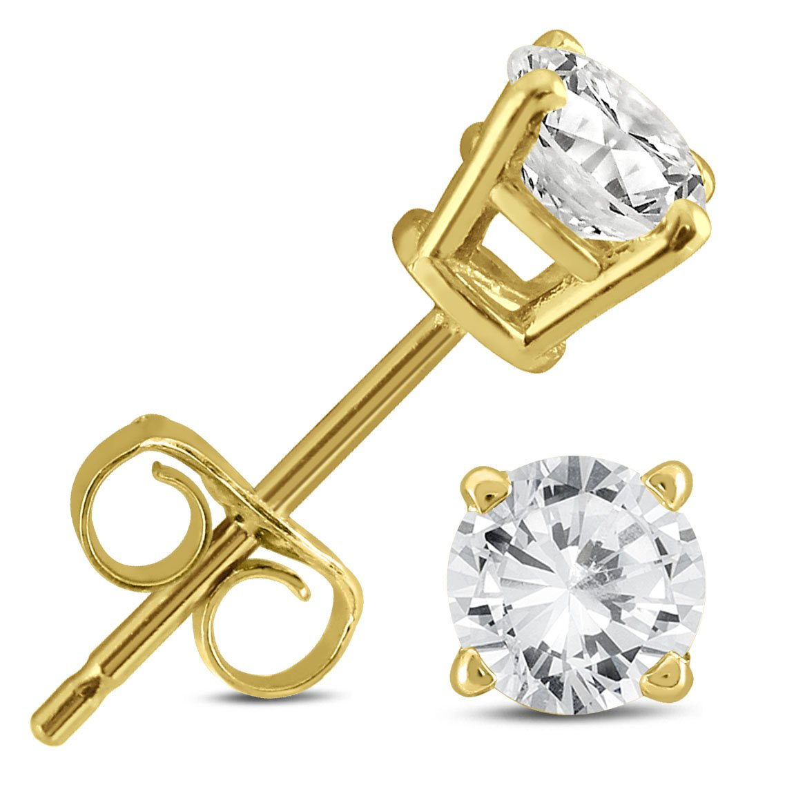 1/2 Carat TW AGS Certified Round Diamond Solitaire Stud Earrings in 14K Yellow Gold