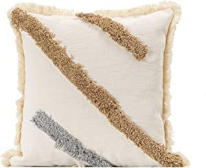 blue page Woven Tufted Decorative Throw Pillow Covers - Bohemian Home Decor Cushion Cover with Fringes, Modern Square Cotton Pillow Cases, Accent Pillows for Bed (Grey Stripe, 18x18 Inches)