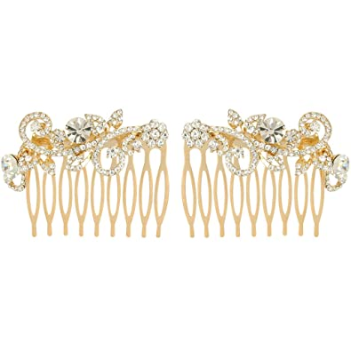 EVER FAITH® Gold-Tone Austrian Crystal Wedding Floral Leaf Vine Hair Comb Set of