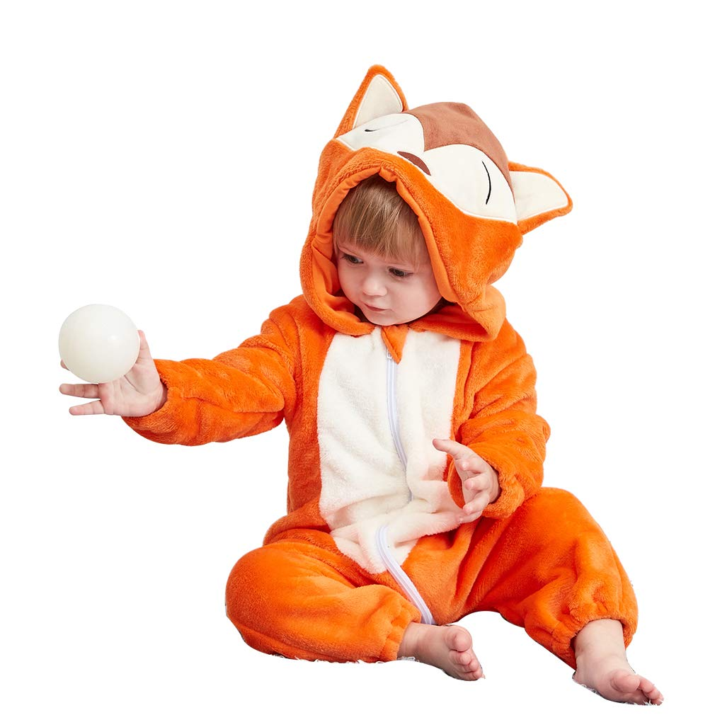 IDGIRL Baby Onesie Winter Romper Pajamas Jumpsuit Outfits for Kids, Fox, 100cm/(19-24)Months