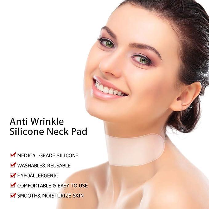 Parche antiarrugas para el cuello, MS.DEAR Almohadilla de Cuidado de Cuello de silicona para eliminar y prevenir las arrugas del cuello- 2 piezas: ...