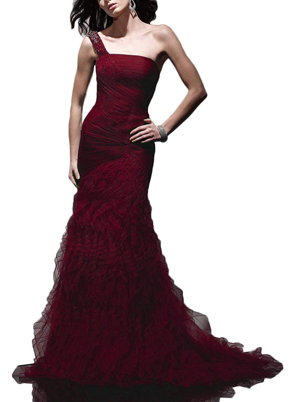 Burgundy Yisha Bello Women's One Shoulder Beaded Long Tulle Pro Dress Sweep Train Pleat Evening Party Gowns