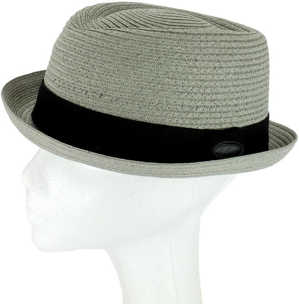 Grey OR Light Grey Pork Pie HAT Straw Style Crushable Black