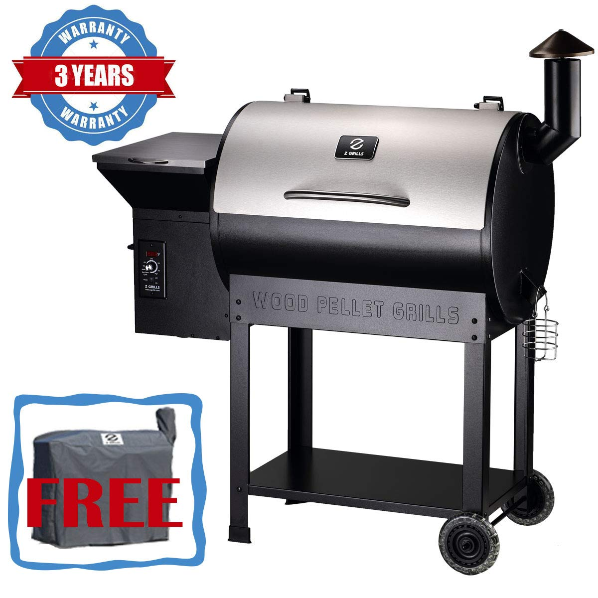 Z GRILLS Wood Pellet Grill & Smoker with Newest Updated Digital Controls, 700 sq. in Grill Master Essential Barbecue Grill by Z GRILLS
