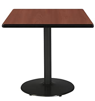 Superbe 30u0026quot; Square Pedestal Table With Mahogany Top, Round Black Base