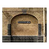 NYMB Platform 9 and 3/4 at London's King's Cross Station Brown Wall Vintage Bath Rugs, Non-Slip Floor Entryways Outdoor Indoor Front Door Mat,60x40cm Bath Mat Bathroom Rugs
