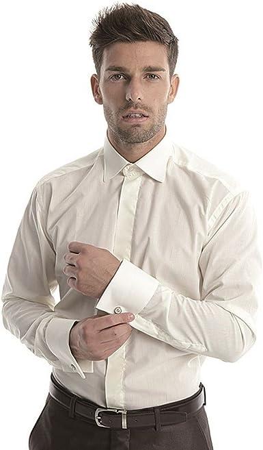 Camisa para Hombre Boda, adimo, Col cassé, para Gemelos Ivoire Mat Large: Amazon.es: Ropa y accesorios