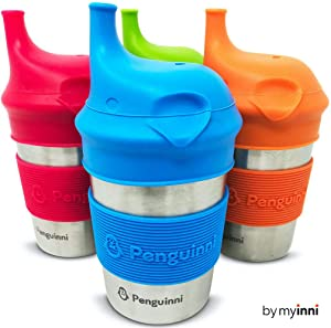 MYINNI Stainless Steel Sippy Cups | 4 Pcs of 10oz Cups | Perfect Transition Sippy Cups | Non-Spill Sippy Cups For Toddlers and Babies | Break-Proof and No Leak Sippy Cups For Baby | Non-Plastic
