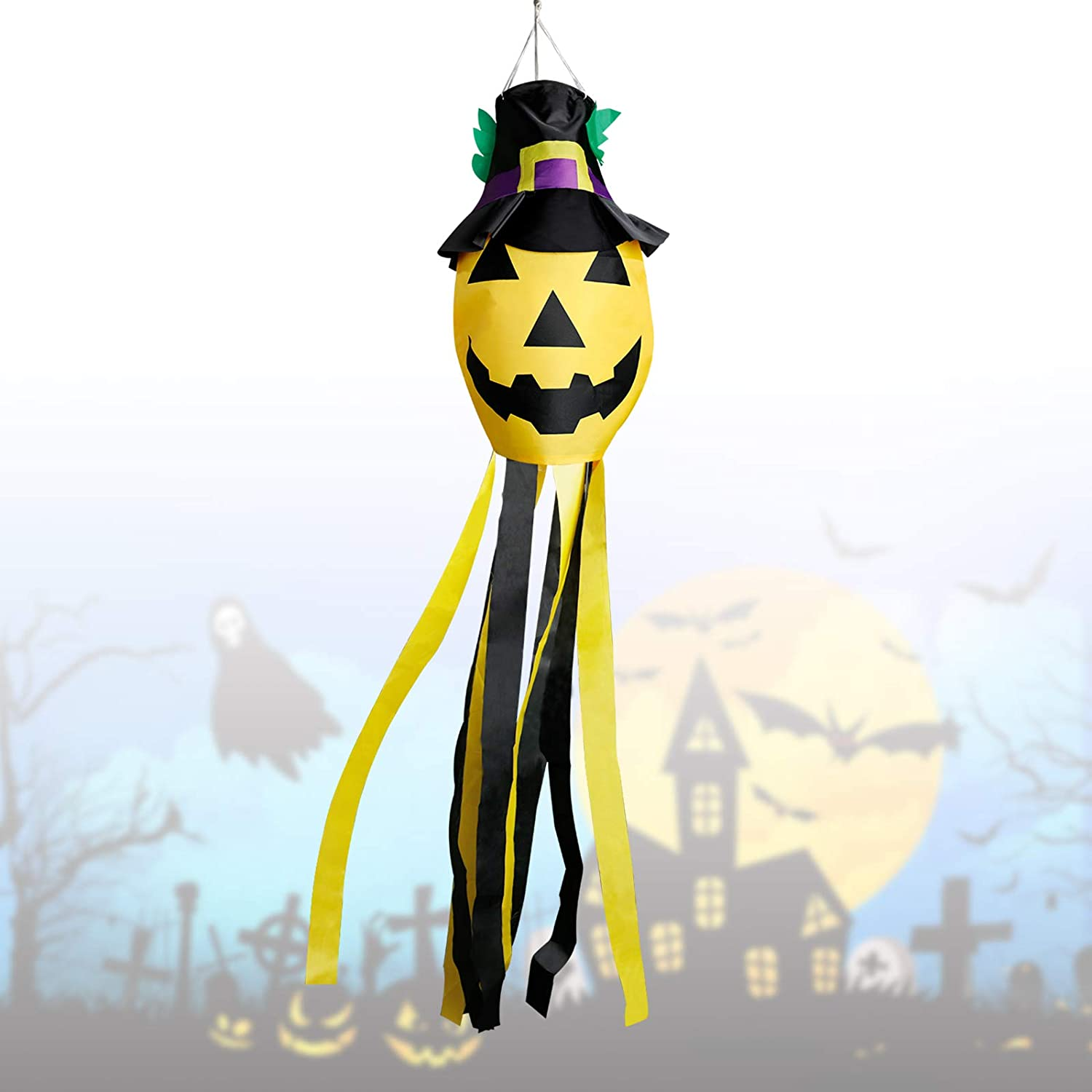 Halloween Windsock Flag,Large Pumpkin Windsock Decoration Halloween Welcome Decoration Tree Hanging Windsock Flag Novelty Halloween Decorations Outdoor Outside for Tree Yard Patio Lawn Garden 51 inch