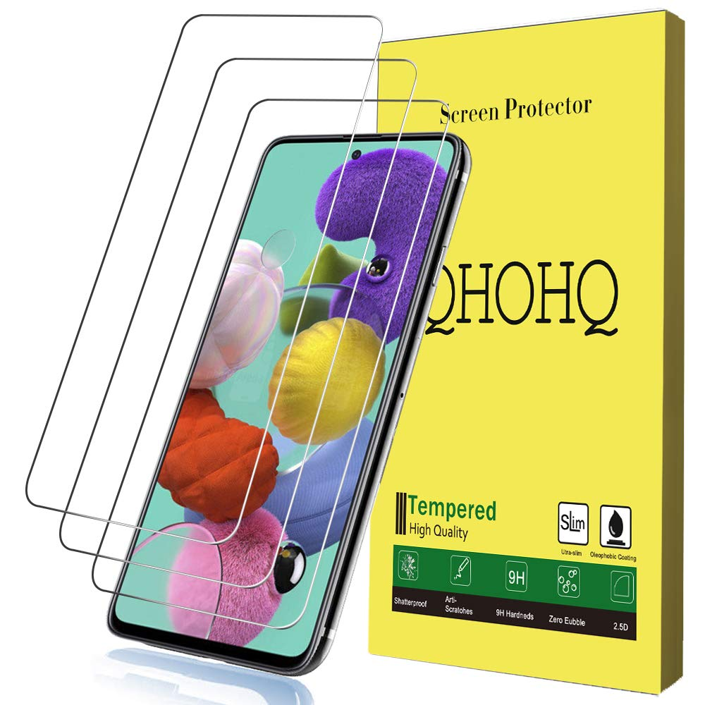 [3-Pack] QHOHQ Screen Protector for Samsung Galaxy A51,[9H Hardness] HD Transparent Scratch-Resistant [Bubble Free] Tempered Glass
