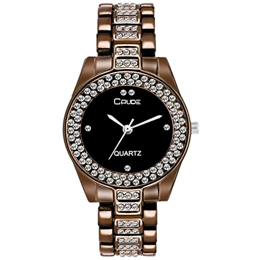 4298e514c Buy Crude rg2045 Stylish Brown Chain Black dial Watch for Women & Girls  Online at Low Prices in India - Amazon.in