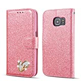 QLTYPRI Samsung Galaxy S6 Case, Glitter Premium PU Leather TPU Bumper Card Holder [Wrist Strap] Wallet Case with Cute Inlaid Loving Heart Diamond Flip Cover for Samsung Galaxy S6 - Pink