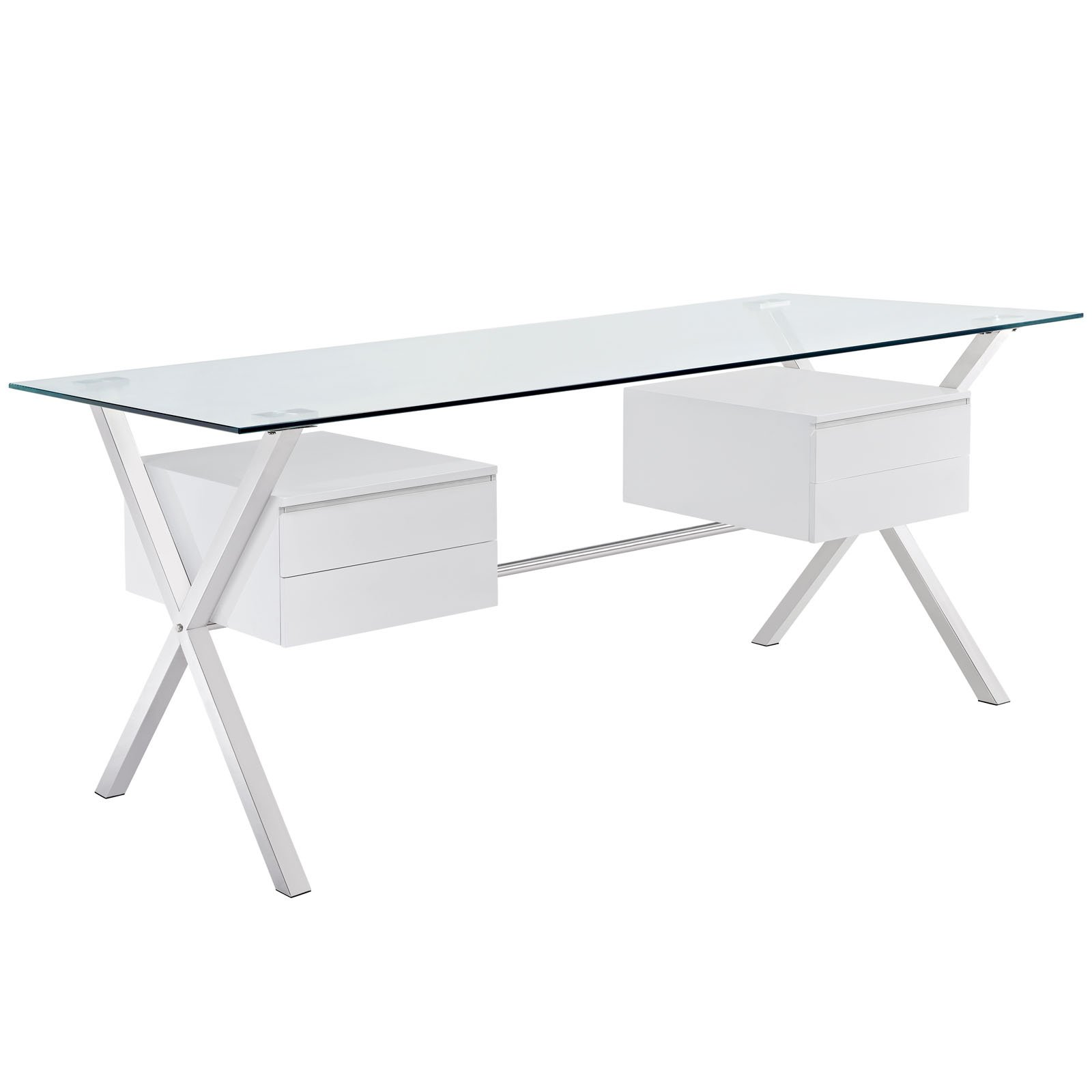 Modway Abeyance Contemporary Modern Glass-Top Office Desk in White by Modway