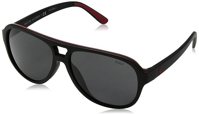 c9f6cecf163c Polo Ralph Lauren Men's Injected Man Sunglass Aviator, MATTE BLACK RED  RUBBER 58 mm