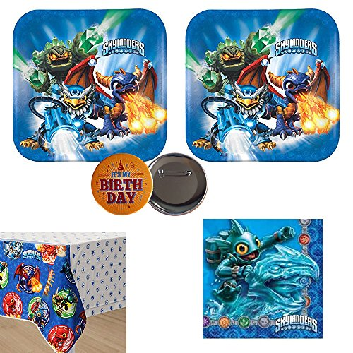 02 Skylanders Party Pack for 16 guests, plates, napkins and tablecover