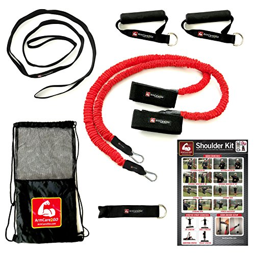 Arm Care 2 Go Baseball / Softball / CrossFit / PT Kit - Resistance Bands - Travel Bag,Bands,Door Anchor,Handles,Stretch Strap,Poster,Bonus Training Videos - Gain Velocity,Strength,Mobility - (Cross Arm Anchor Strap)