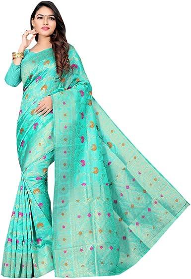 Diseñador Indio Art Silk Saree Sari con Blusa Pieza Ropa de Fiesta Tradicional India Bollywood Mujeres niña Mujer Muslim Women Indian 8307: Amazon.es: Ropa y accesorios
