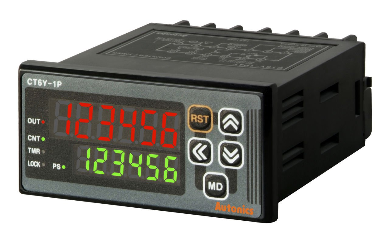 AUTONICS CT6Y-1P4 Counter&Timer, W72xH36 mm, 6 Digit, LED,1 Preset, Relay & NPN Output,100-240 VAC