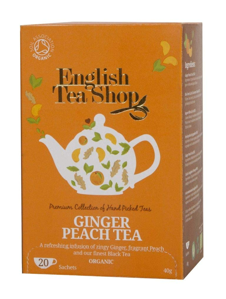 CDM product English Tea Shop Ginger Peach Tea Tea Bags, 40 Gram (Pack of 6) big image