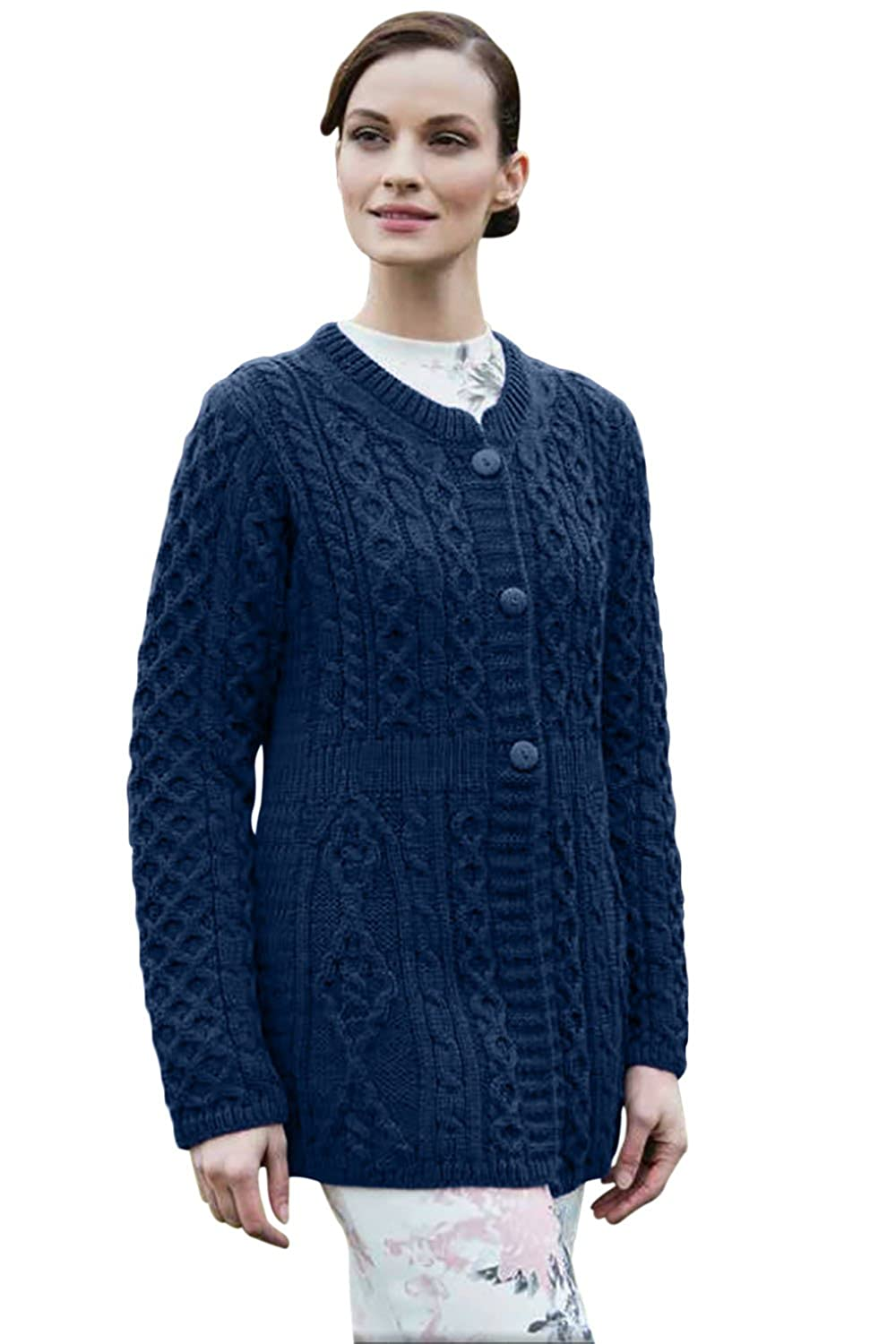 Ladies Colorful 1920s Sweaters and Cardigans History 100% Irish Merino Wool Ladies A Line Aran Sweater by Carriag Donn $94.19 AT vintagedancer.com