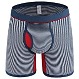 Muryobao Mens Long Leg Boxer Briefs Cotton Stretch Underwear Comfortsoft Waistband Stripe with Fly Front Bulge Pouch