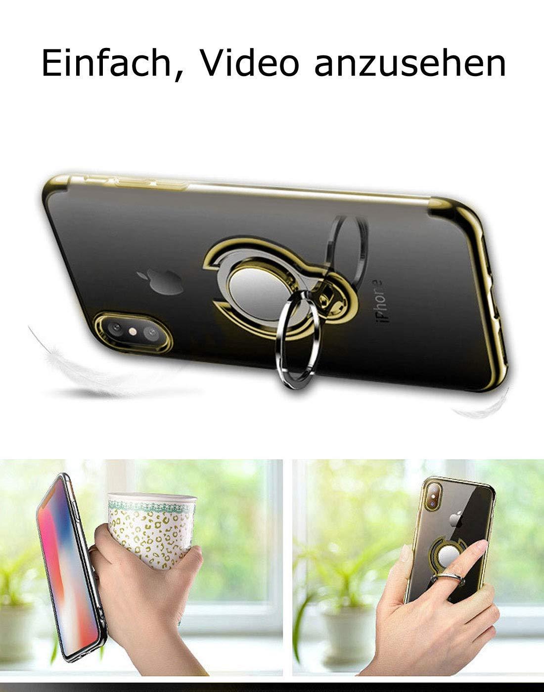 Caler H/ülle Kompatible Samsung Galaxy A50 Handyh/ülle Soft Silikon H/ülle Ultra D/ünn TPU Bumper Case 360 Grad Ring Stand Magnetische KFZ-Halterung Autohalterung Schutzh/ülle f/ür Transparent