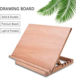 A3 Artist Drawing Board Drawing & Sketching Board Beech Wood Desktop Easel 4-Position Adjustable Drafting Table Desk Easel for Painting, Suitable for Children, Beginners & Professional Artists