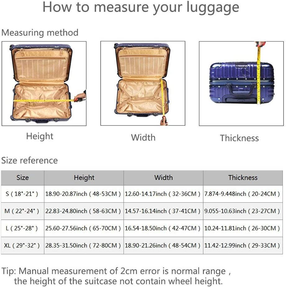 DHUYUN-Bag Luggage Cover Protector Travel Elastic Spandex Thickened Luggage Cover Fit 18-32 Inch Luggage Zipper Closure at The Bottom Easy to Fit and Remove Washable Baggage Covers