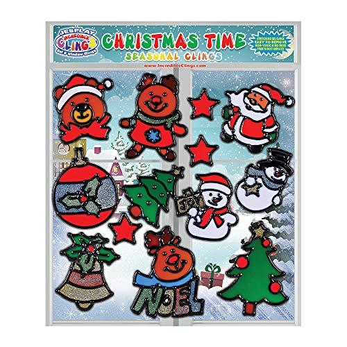 Noel Snowman - JesPlay Christmas Time Seasonal Flexible Gel Clings - Reusable Glass Window Clings for Kids, Toddlers - Incredible Xmas Gel Decals of Ornament, Bell, Noel, Snowman Home, Airplane, Classroom, Nursery