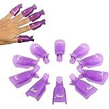 ReNext 10pcs Durable Reusable Plastic Nail Art Polish Soak Off Remover Wrap Cleaner Clip Cap Tool (Purple)