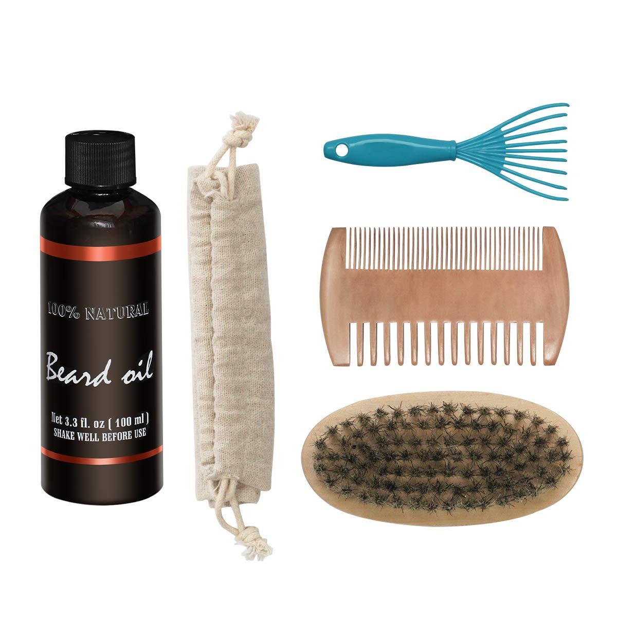 Bartpflege Set, iFanze Bartöl 100mL Fresh Scent, Bartkamm, Bartbürste, Bartbürste Reinigungswerkzeug für bart herren pflege Bartbürste