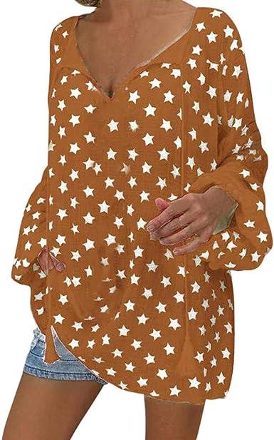 Qingsiy Camisetas Mujer Manga Larga Tallas Grandes Originales Nueva Camisa de Gran tamaño con Estampado de Estrellas de Cinco Puntas, Nueva Europea y Americana Ropa de Moda Casual para Fiesta Playa: Amazon.es:
