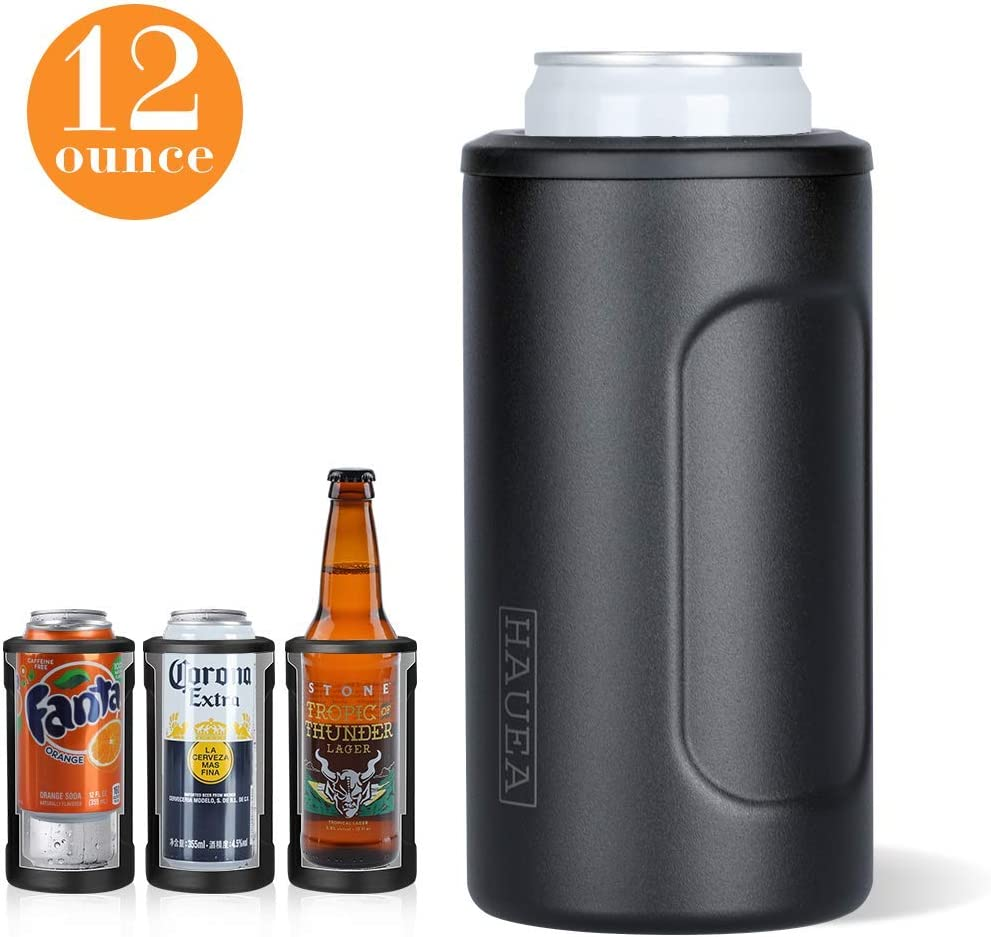 HAUEA 4 in 1 Insulated Can Cooler, Double Walled Stainless Steel Can Insulator Beer Holder for 12oz Regular Cans, Bottles, Slim Cans, Skinny Cans Keeper, As Pint Glass