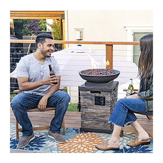 Bond Manufacturing 63172 Newcastle Propane Firebowl Column Realistic Look Firepit Heater Lava Rock 40,000 BTU Outdoor Gas Fire Pit 20 lb, Pack of 1, Natural Stone - Make sure this fits                by entering your model number. Throw the ultimate s'mores party, host an outdoor date-night, tell spooky stories around the flame, or just enjoy a good book beside the inviting Newcastle Firebowl! 40,000 BTU heat output provides warmth and light - patio, outdoor-decor, fire-pits-outdoor-fireplaces - 61pC DBQYFL. SS570  -